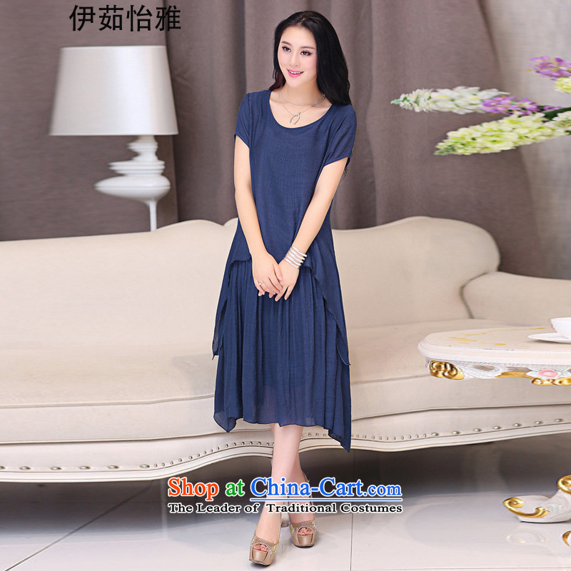 El-ju Yee Nga thick sister summer larger female cotton linen dresses YJ066聽XXXL blue