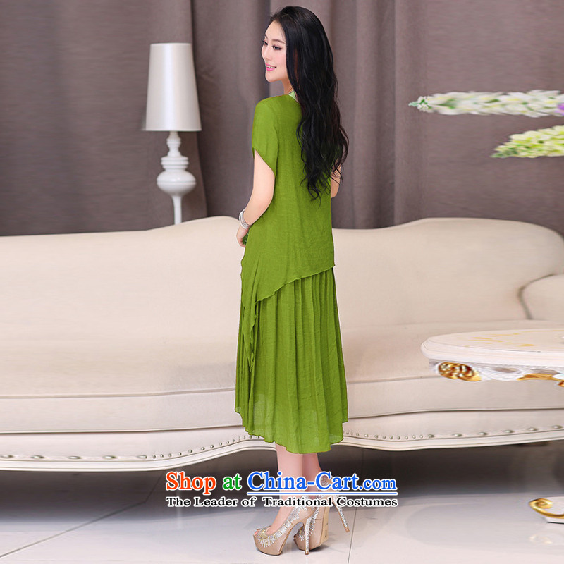 El-ju Yee Nga thick sister summer larger female cotton linen dresses YJ066 BLUE聽XXXL, el-ju Yee Nga shopping on the Internet has been pressed.