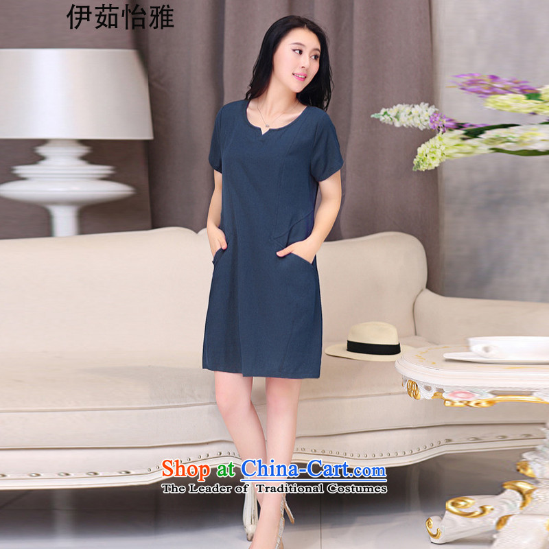 El-ju Yee Nga thick sister summer new larger female cotton linen dresses YJ067 Blue聽M