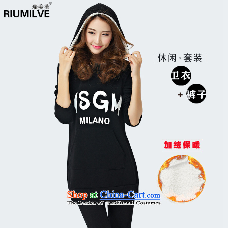 Rui Mei to�15 to increase the number of women in autumn and winter sport and leisure new plus lint-free sweater Kit Letter stamp loose video two kits Y1340 thin black�L