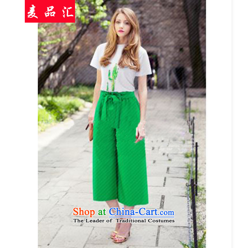 Mr products large 2015 meeting women's summer won 200 catties thick mm short-sleeved T-shirt + integrated stamp with wide-legged pants Kit 0853 two white T+ green trousers 3XL