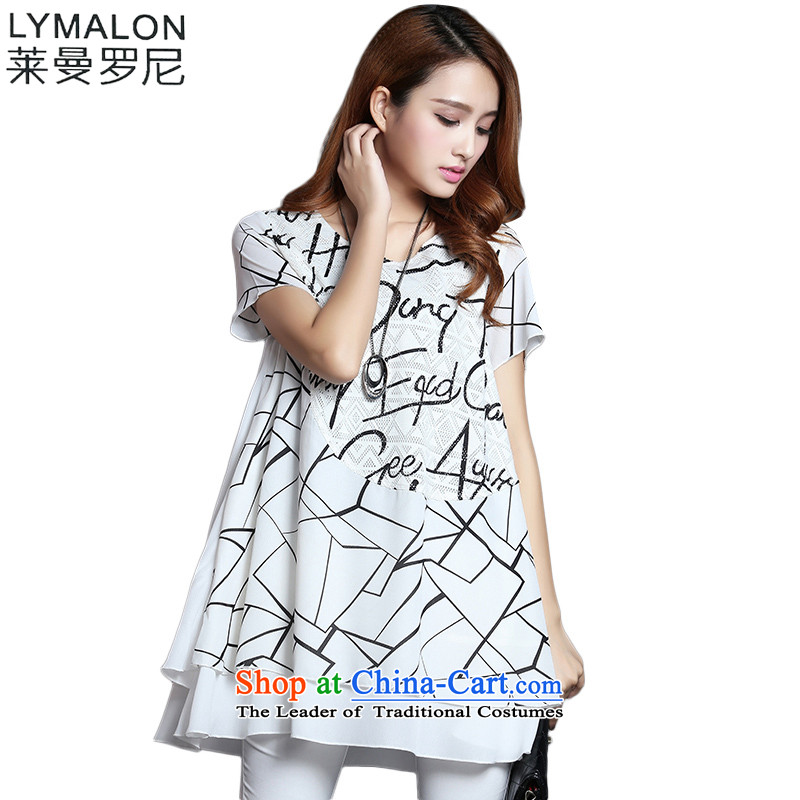 The lymalon Lehmann 2015 Western new summer, large female loose fit short-sleeved stretch stamp chiffon long shirts 1233 White燲XL