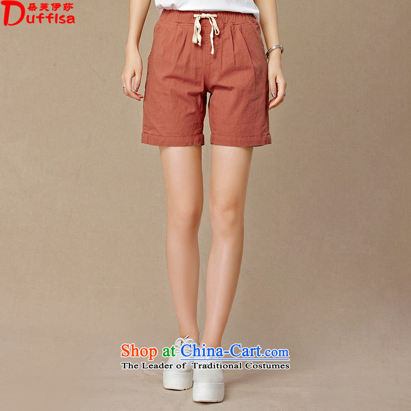 Flower to Isabelle�15 Summer new Korean leisure cotton linen pants candy colored loose large graphics thin shorts female D1905 embroidered red燤