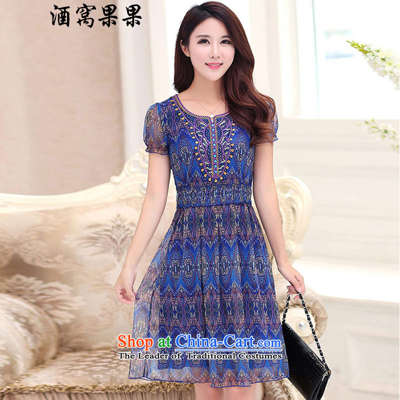 Dimple jelly 2015 Spring_Summer new larger women in long stamp V-neck in the skirt of Sau San short-sleeved dresses 1321 Blue�L