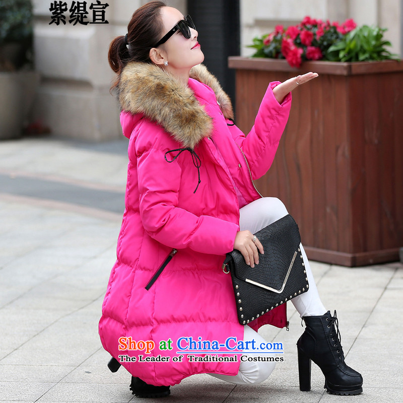The first declared as thick mm to xl women in Europe, autumn and winter in new robe long Stylish coat female jacket video thin cotton coatof red3XL L8147/ around 922.747 150-175