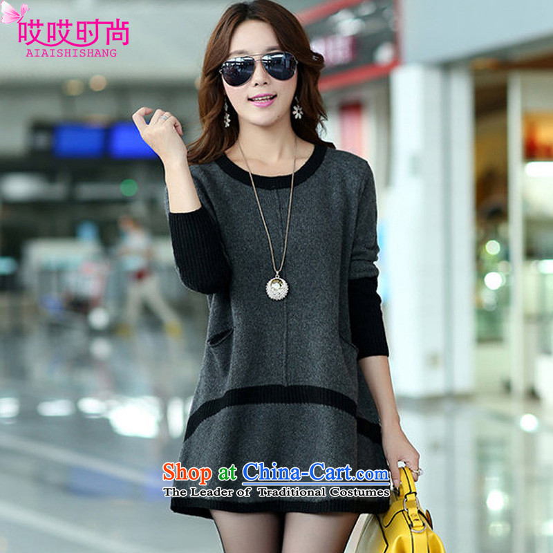 Ah, Ah, stylish 2015 autumn large new liberal women's long-sleeved knitted dresses 8887#    XXXL Carbon