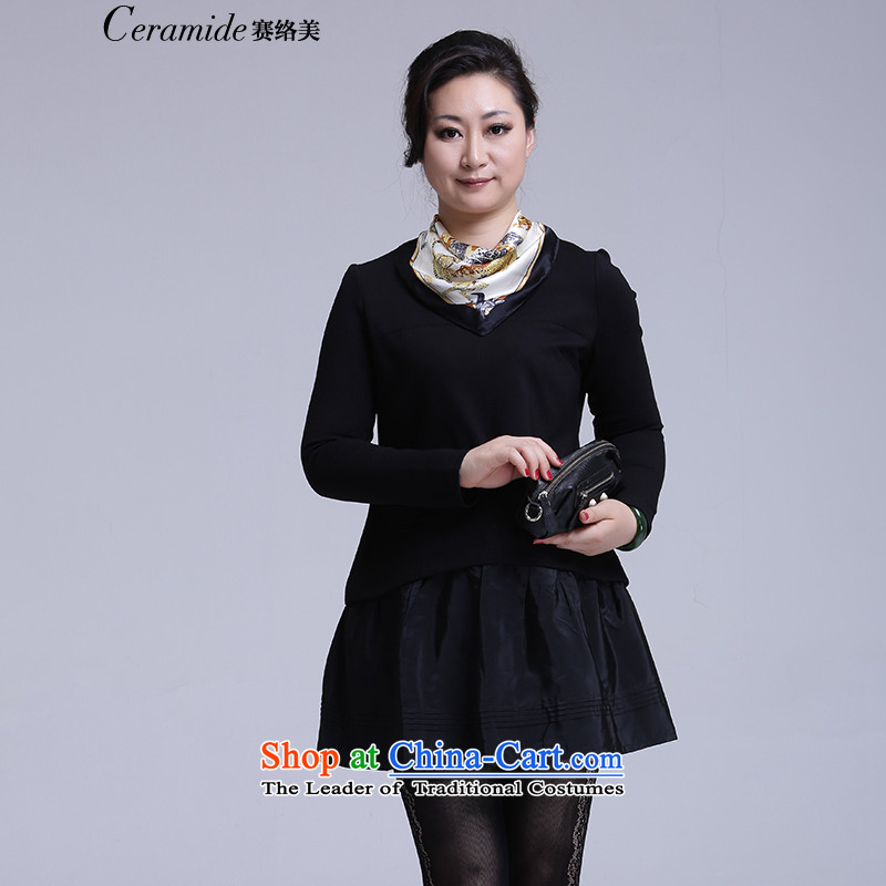 The new 2015 Fall/Winter Collections for larger female Korean to intensify the mother two kits dresses long-sleeved loose knitting thick expertise Sau San sister short skirt black S-36 Coated