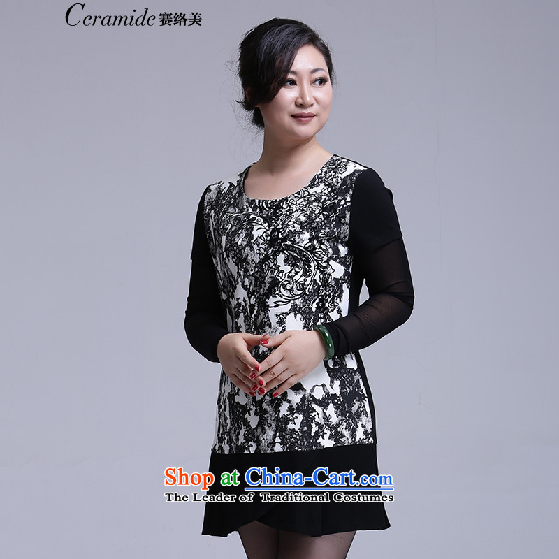 Contact Us autumn and winter season with new women's thick sister plus hypertrophy code leisure loose video thin plus lint-free two leave stamp knitted dresses black燤-38 651101016