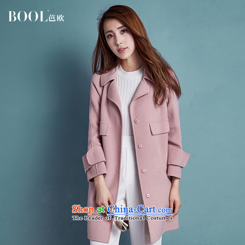 Barbara Euro 2015 Autumn New Pure Wool double-side coats manually long hair that Ms. jacket and pink燤