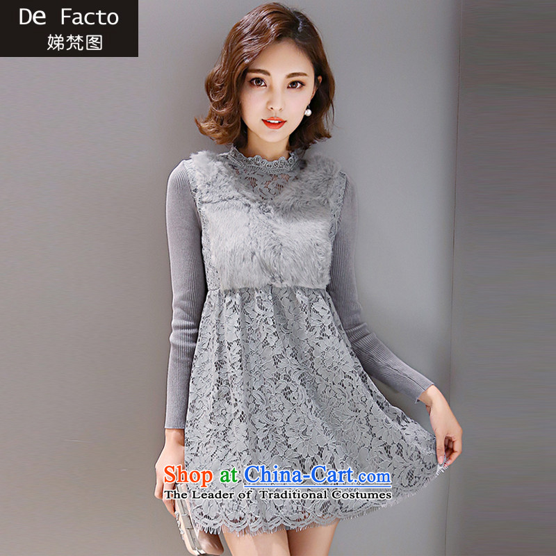 To Van Gogh figure for autumn and winter 2015 Korean version of large numbers of ladies thick sister plus extra thick solid relaxd lint-free dresses D8008  XXXL gray colors