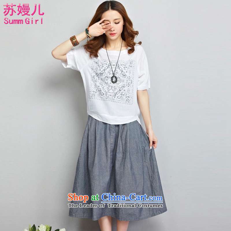 Su-Man Ka Bo爊ew summer 2015, larger female Korean short-sleeved stitching Sau San two kits cotton linen dresses燝3463爌icture color燲XL