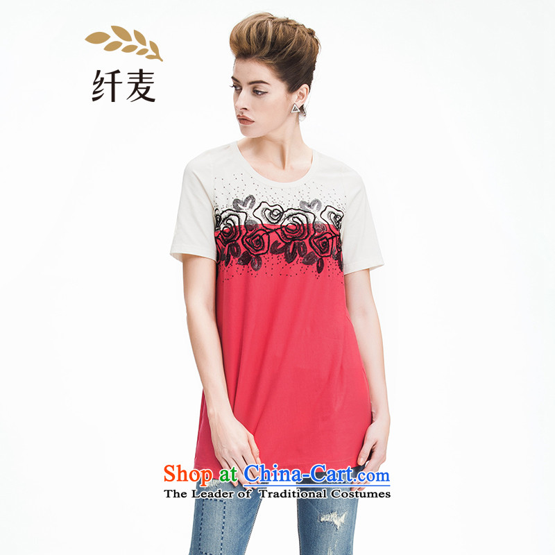 The former Yugoslavia Migdal Code women 2015 Summer new stylish mm thick color blocks stitching T-shirt 952153879 embroidered red�L
