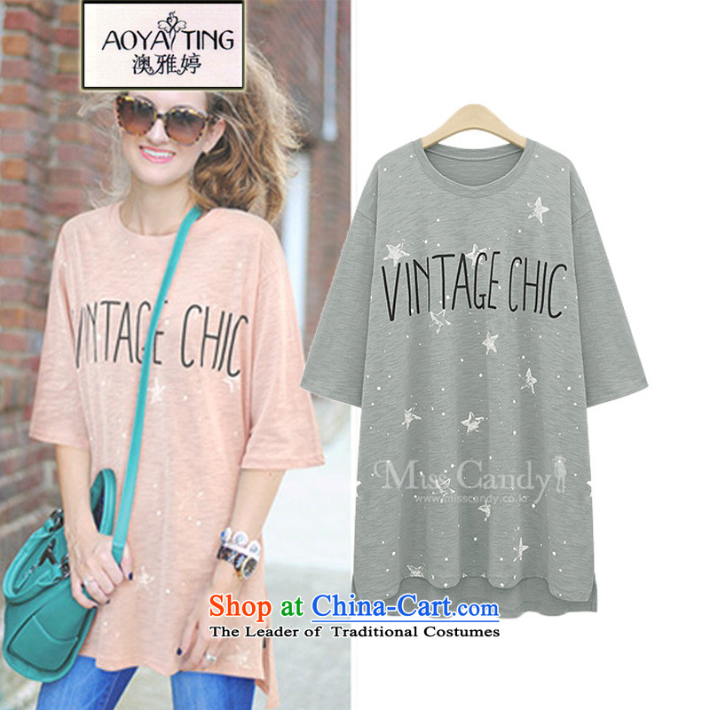 O Ya-ting to increase women's code 2015 Summer new mm thick and long, thin graphics short-sleeved T-shirt stamp Female Light Gray 5XL 175-200 recommends that you Jin