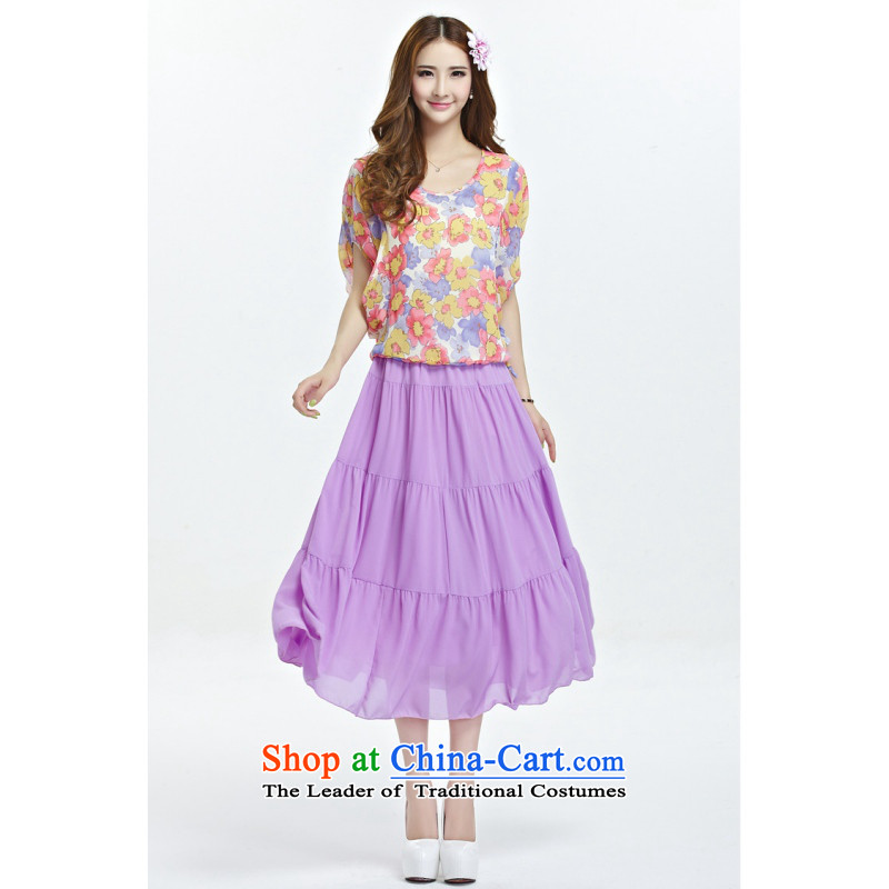 C.o.d. larger female thick MM video thin two kits for summer 2015 new Korean modern pastoral stamp chiffon shirt + long skirt purple�L body