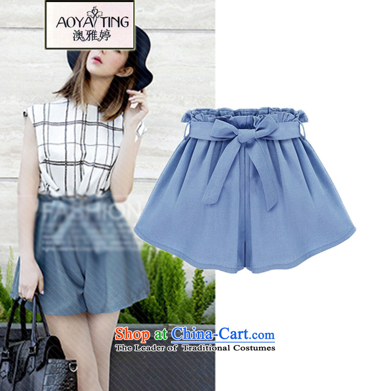 O Ya-ting to increase women's code 2015 Summer new thick mm elasticated waist thin, video width and shorts hot pants female light blue4XLrecommends that you 160-180 catty
