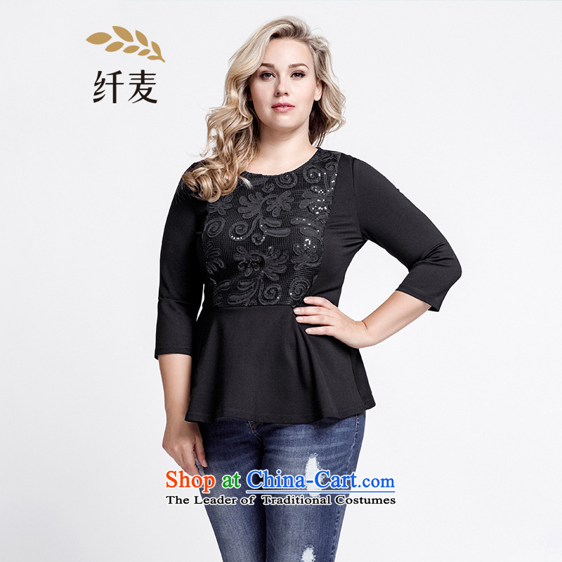 The former Yugoslavia Migdal Code women 2015 Autumn replacing new stylish mm thick floral Foutune of video T-shirt�3363437 thin燽lack�L