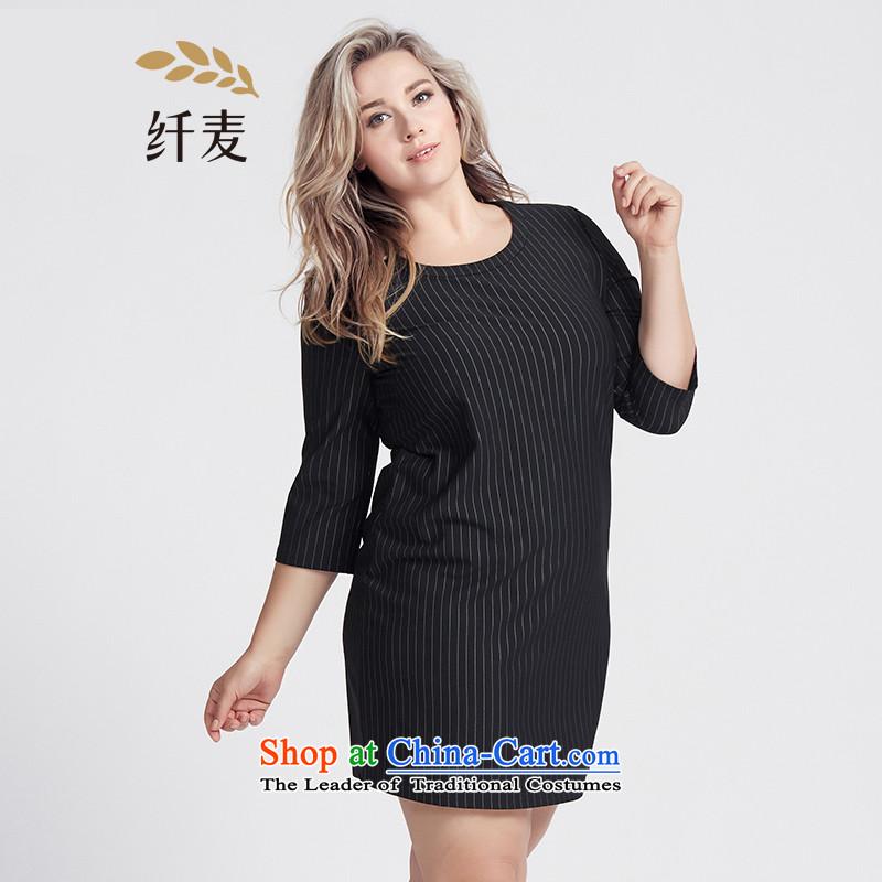 The former Yugoslavia Migdal Code women 2015 Autumn replacing new stylish 7 mm thick cuff streaks dresses?black?5XL 953106278