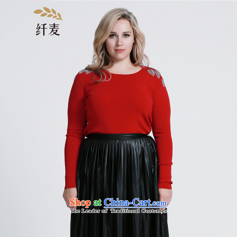 The former Yugoslavia Migdal Code women 2015 Autumn replacing new stylish mm thick shoulder nail pearl personality sweater�3133232牋3XL red