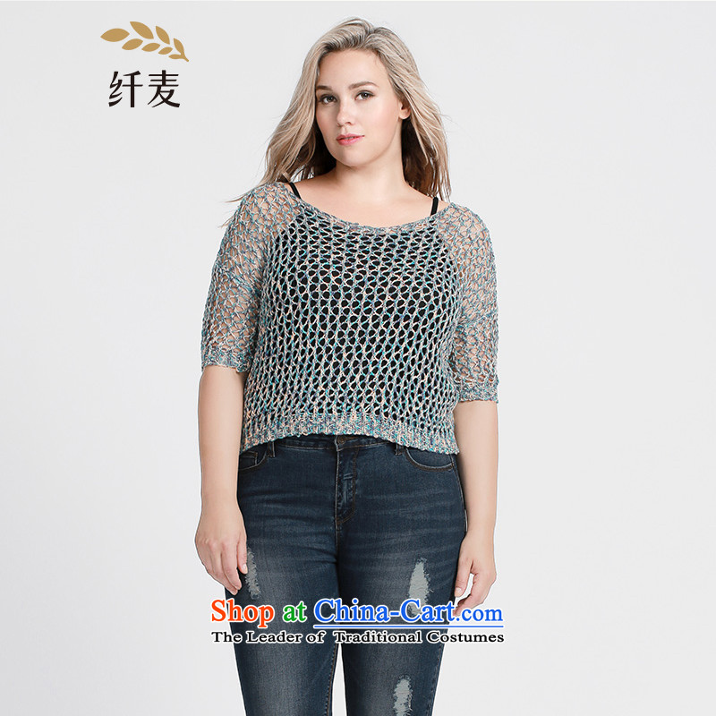 The former Yugoslavia Migdal Code women 2015 Autumn replacing the new mm thick stylish engraving bat sleeves, sweater 953134234 short blue燲L