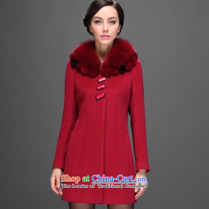 Hengyuan Cheung 2015 New in winter) Older women long woolen coats gross for it? daughterPrincess red180/100A/XXXL NANSAN Jacket