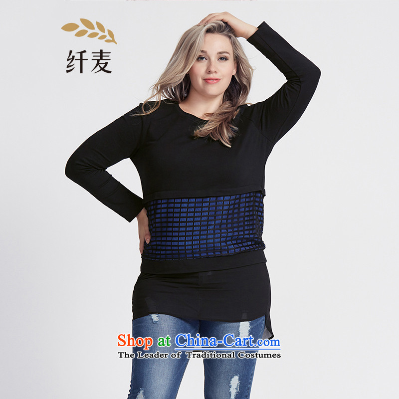 The former Yugoslavia Migdal Code women 2015 Autumn replacing new stylish mm thick grid chiffon stitching T-shirt�3365446燽lue spell black�L