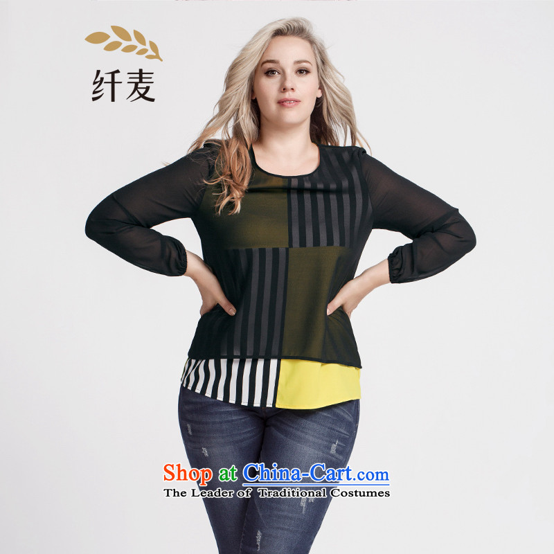The former Yugoslavia Migdal Code women 2015 Autumn replacing new stylish mm thick layer stripe T-shirt�3362434 stitching燽lack�L