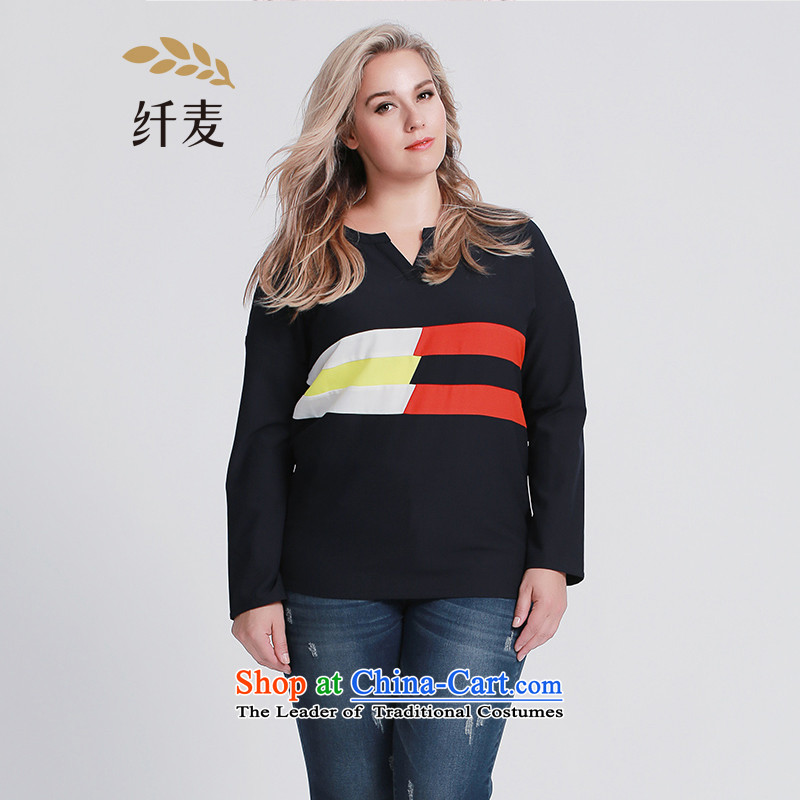 The former Yugoslavia Migdal Code women 2015 Autumn replacing new stylish mm thick banding knocked Small Tri-color T-shirt�3362433 V-Neck牋3XL blue