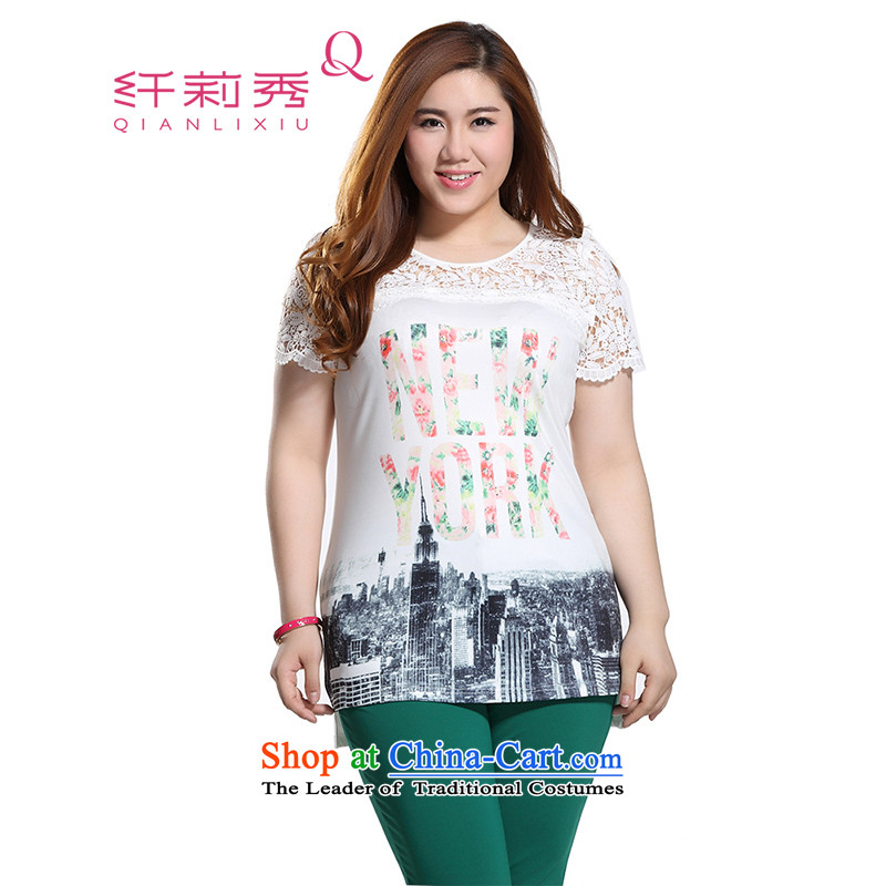 The former Yugoslavia Li Sau 2015 Summer large new women's stylish round-neck collar sexy lace stitching Western cities in the stamp duty pattern letters long TEE Q8533 rice white?4XL