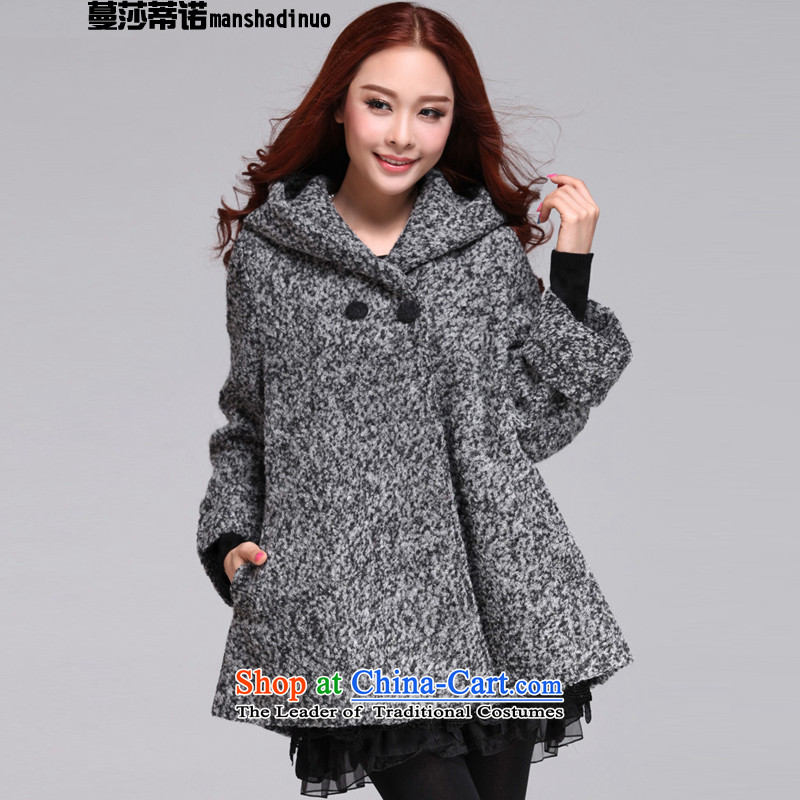 Elizabeth Overgrown Tomb, larger female winter thick sister to intensify the2015 Fall/Winter Collections for women won the new version in the relaxd long long-sleeved jacket light gray hair?XXXL155-175 catty
