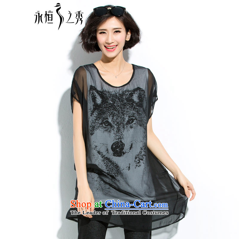 The Eternal Soo-to increase women's code thick mm summer new Wild loose video thin stamp short-sleeved T-shirt female black�L