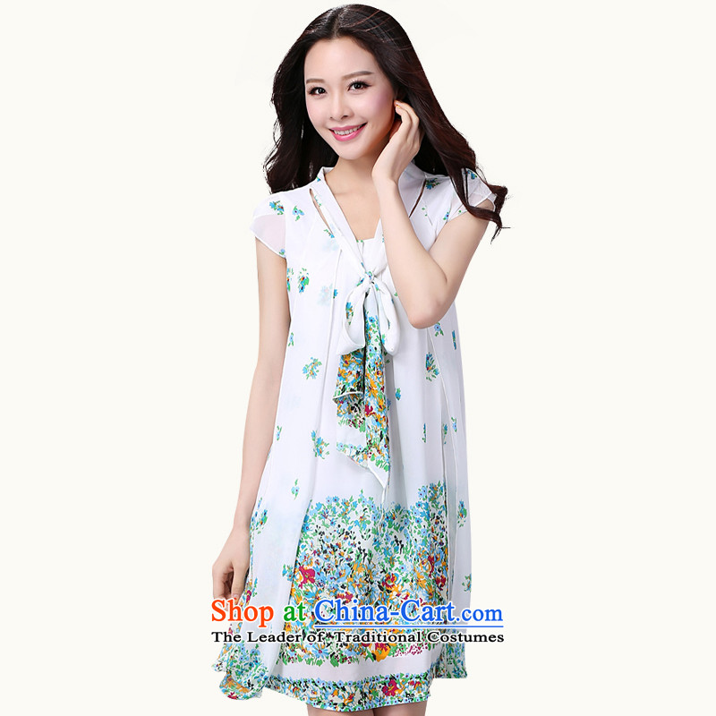 Xl Women 2015 new summer garden casual dress thick mm loose small saika video Sau San thin thick snow woven skirts of sister white flowers to large 4XL 175-190 catty