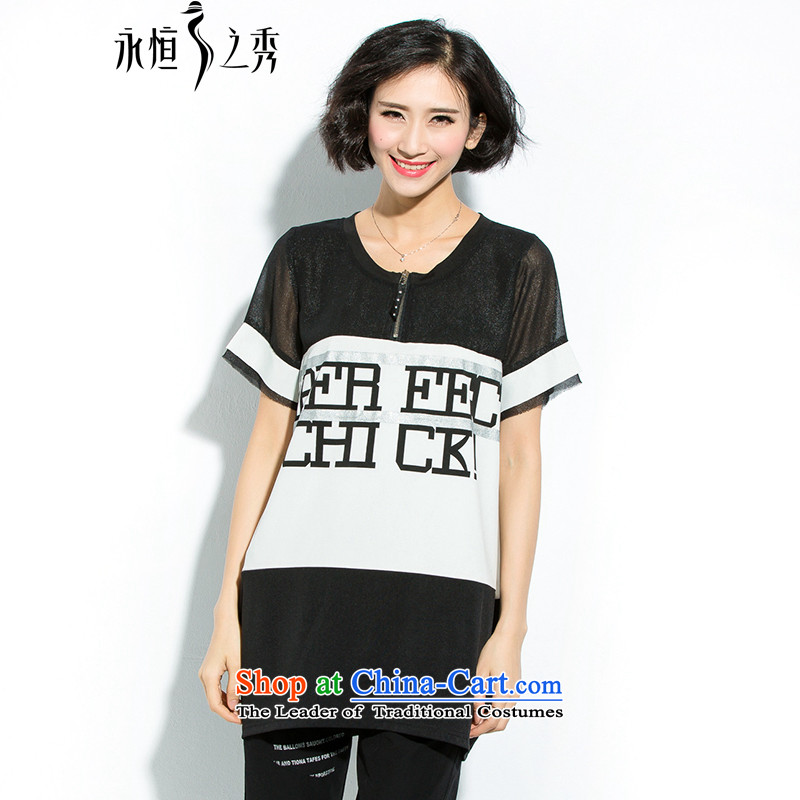 The Eternal Soo-to increase women's code thick MM Summer 2015 new liberal video thin black T-shirt stamp letters燲L