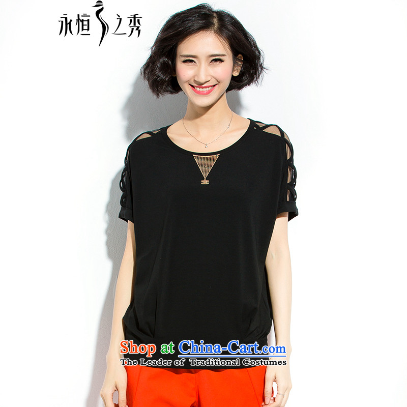 The Eternal-soo to XL T-shirts thick MM Summer 2015 new thick sister who loose video thin thick, Korean fashion short-sleeved bat engraving shirt Black燲L