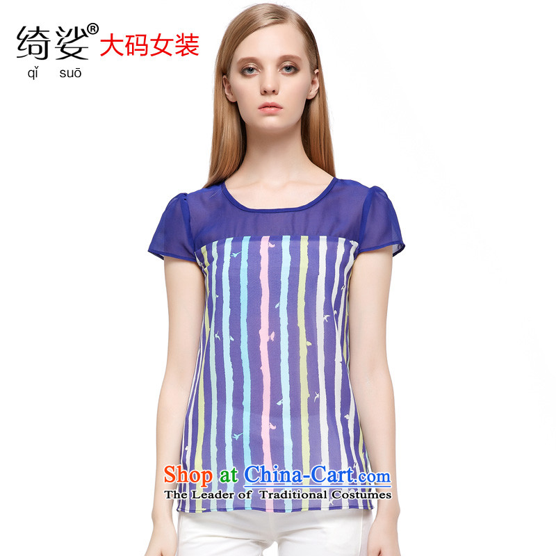 As provided for the NEW Summer 2015 large female lady streaks chiffon XL Graphics thin short-sleeved T-shirt燽lue�L 28.7