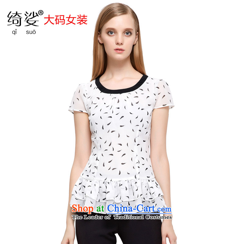 As provided for the NEW Summer 2015 large female fresh small feathers hem video stamp omelet thin short-sleeved T-shirt�71牋5XL White