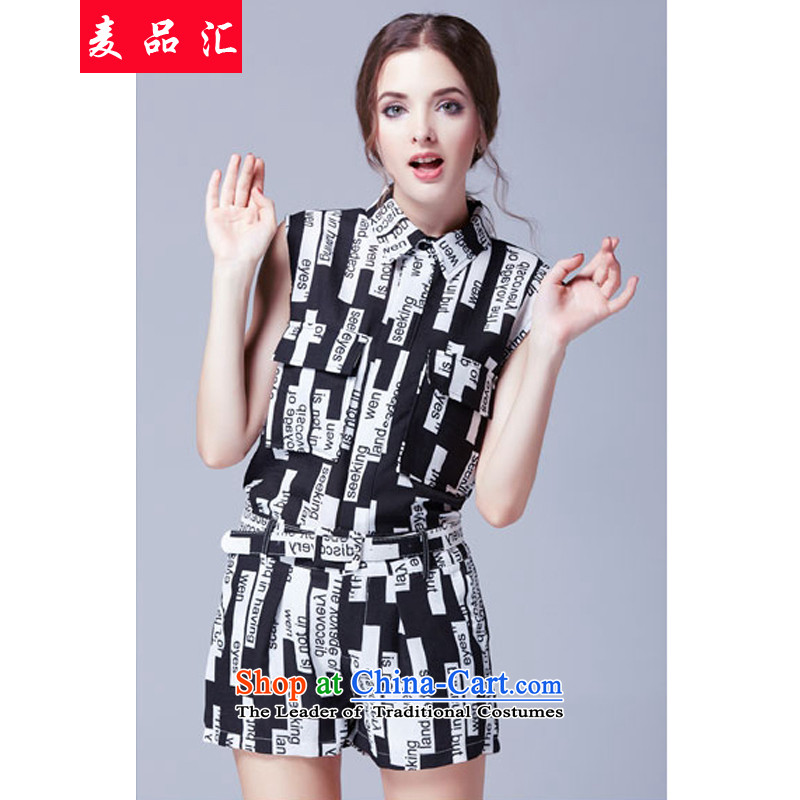 Mr Hui2015 summer products new Korean version of fat mm larger women's sleeveless T-shirt stamp thin Video + belt loose shorts two Kit259Color Picture Transfer Belt5XL, Mak products removals by sinks , , , shopping on the Internet