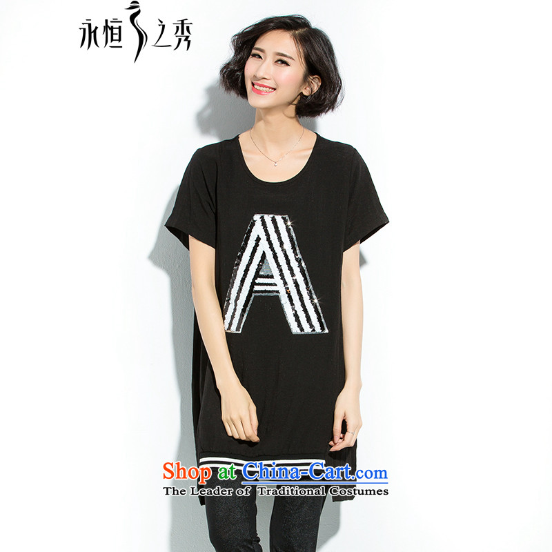 The Eternal Soo-to increase women's code thick MM Summer 2015 new liberal graphics chip on the thin black T-shirt�L letters