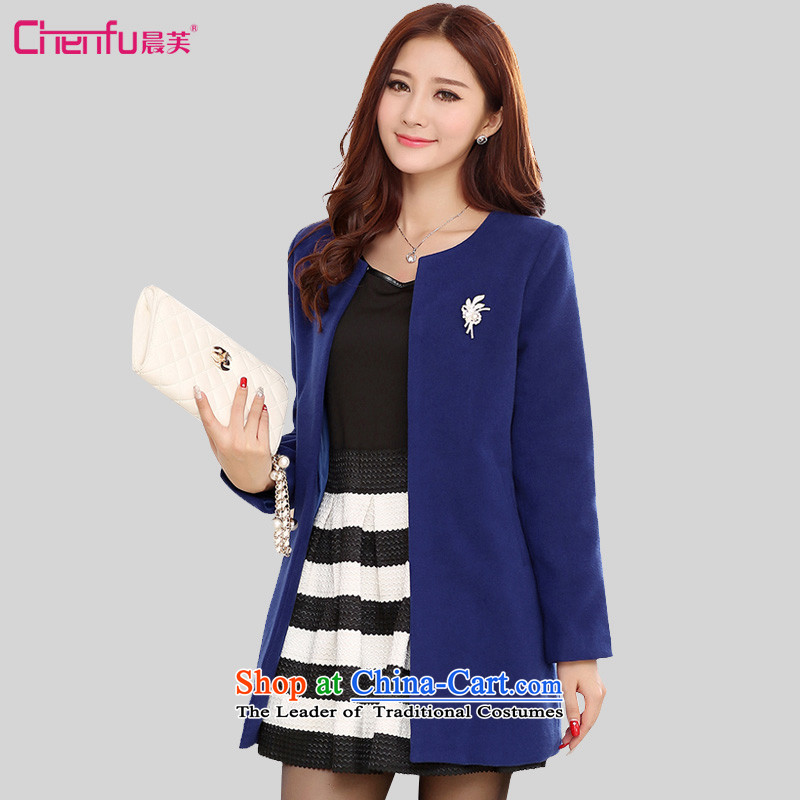 Morning to 2015 autumn and winter new Korean Edition to increase the number of women in the gross?   Graphics thin thin coat? long coats in royal blue4XL_ recommendations 165-180 catties_