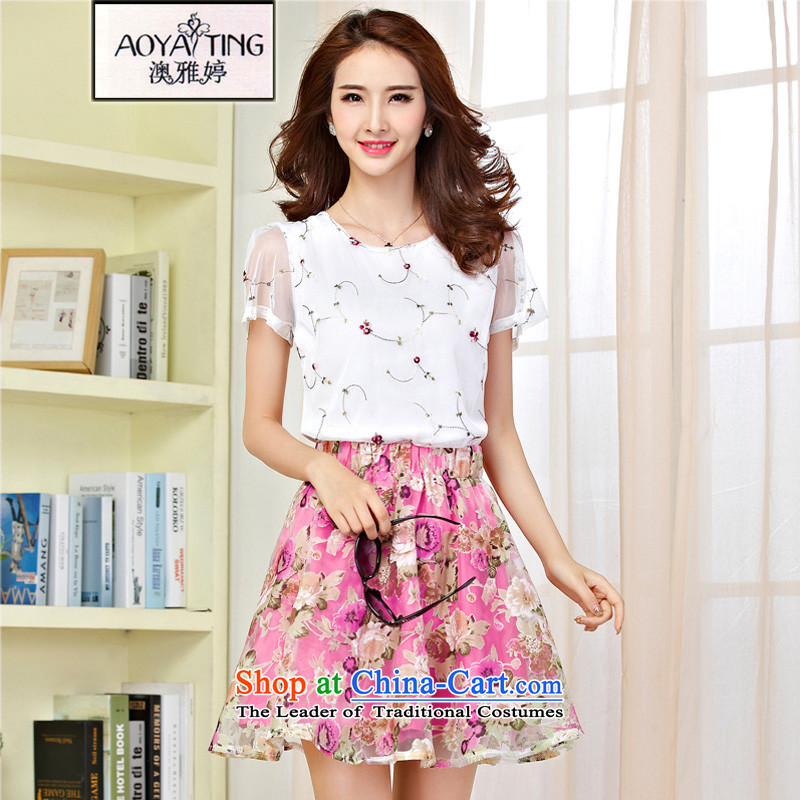 O Ya-ting to increase women's code 2015 Summer new thick mm thin shirts dyeing graphics roses short skirt kit picture color two kits�L爎ecommends that you 160-180 catty