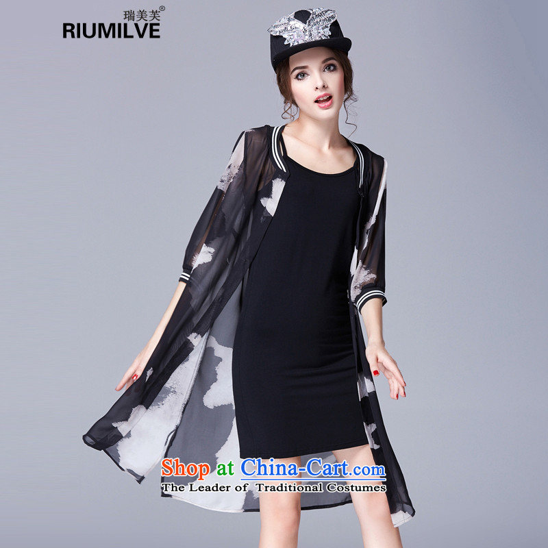 Rui Mei to?2015 to increase the number of women with new summer thick MM THIN in the video long sleeved shirt-fifth air conditioning low wind of shirt jacket 3639th 3XL black