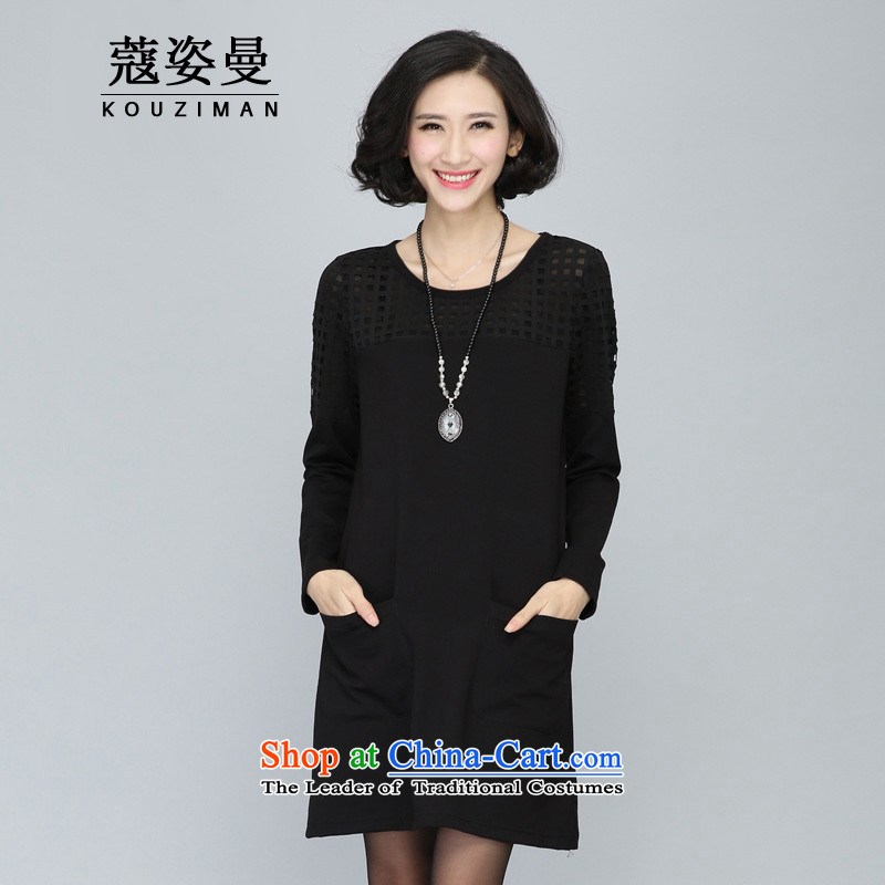 Gigi Lai Man early autumn Coe larger women, Hin thin, thick 2015 new thick sister engraving long-sleeved dresses to straight skirt3XL black