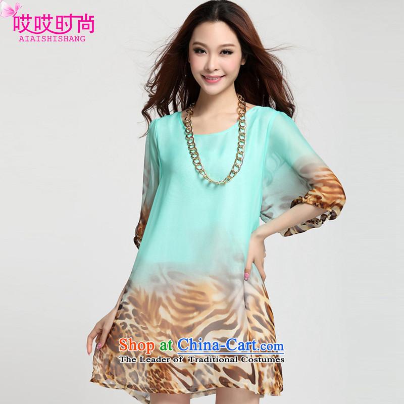 Ah, Ah, stylish new summer 2015 for women fifth lanterns cuff loose leopard chiffon larger dresses 72001# LeopardXXXL mint green