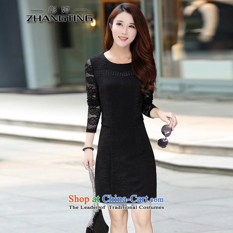 Chang Ting autumn large new women's thick mm video thin stitching Sau San dresses T1190 black. 4XL