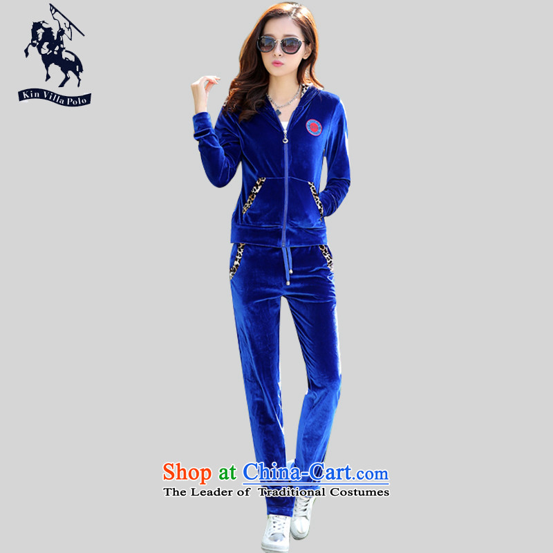 Kinvillapolo thick mm sports suits women fall inside a long-sleeved Kim Velvet Lounge suite autumn large number of ladies thick sister new recommendations 130-145-BLUE XXL through