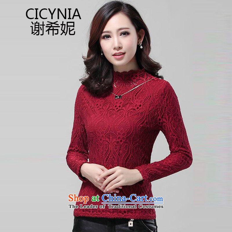 Chechi Connie plus extra thick lace forming the lint-free female 2015 Fall_Winter Collections new Korean version of large numbers of women are long-sleeved shirt SY032 lace wine red燲XL