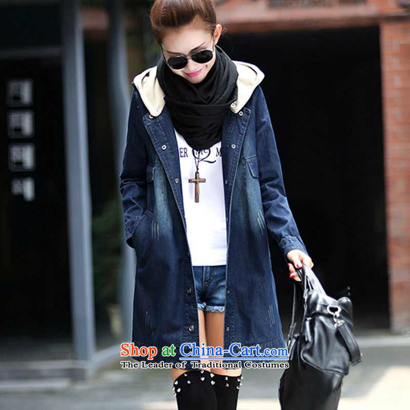 In accordance with the largest number of live chickens imported dan female thick sister to intensify cowboy windbreaker Korean version with cap on girls' Graphics thin new expertise in tien long autumn and winter jackets blue thick,_ 2XL 130 to 145 cattie