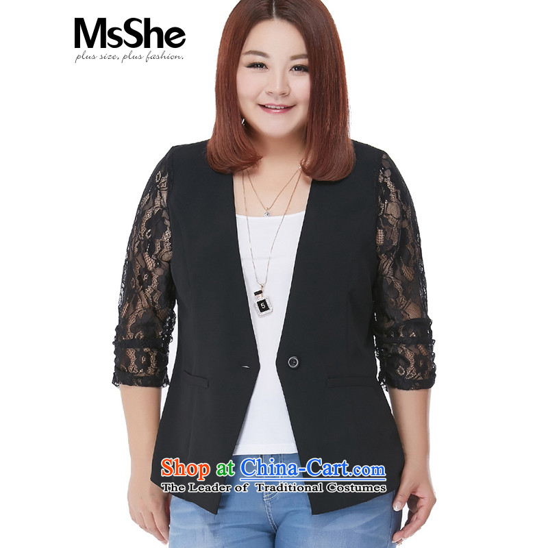 Thin Small Business Suit msshe Short Sleeve Jacket large Fat MM 2015 Summer minimalist Solid Color 8488 Black?3XL Cardigan