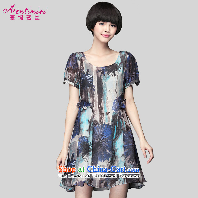 Golden Harvest large population honey economy women for summer to intensify the Korean version of Fat MM ink stamp loose video thin dresses�02燰iolet Grand 3XL code around 922.747 160