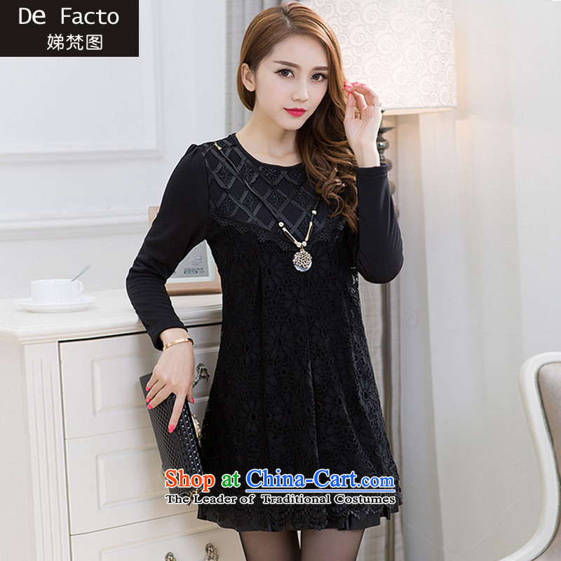 To Van Gogh figure for autumn and winter 2015 new Korean version of large numbers of ladies thick sister plus lint-free Thick coated dressesD8084 femaleblack AXXXL