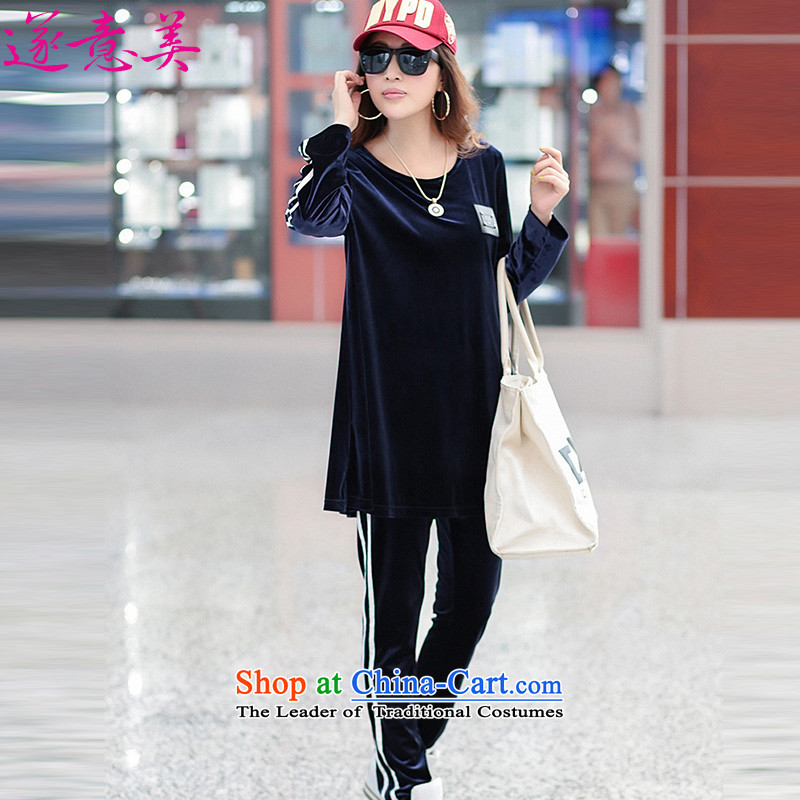 Adjourned accordingly to us velvet stylish Suite�15 autumn and winter new products, to increase the number of women with long-sleeved T-shirt leisure two kits�6燽lue packaged燲L